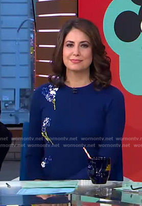 Cecilia's blue floral embellished sweater on Good Morning America