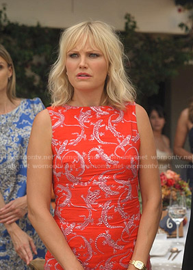 Celeste's red lizard print midi dress on Dollface