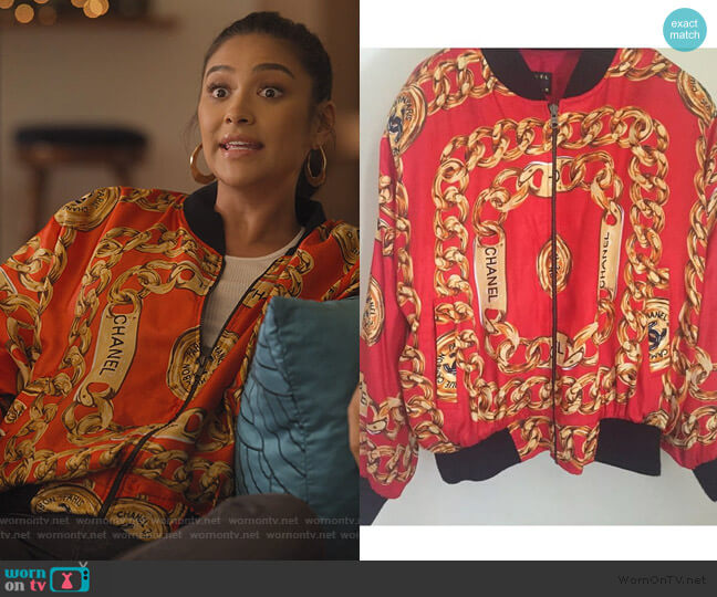 Silk Red Bomber Jacket by Chanel worn by Stella Cole (Shay Mitchell) on Dollface