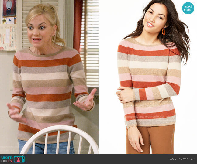 Charter Club Striped Cashmere Sweater in Heather Camel Combo worn by Christy Plunkett (Anna Faris) on Mom