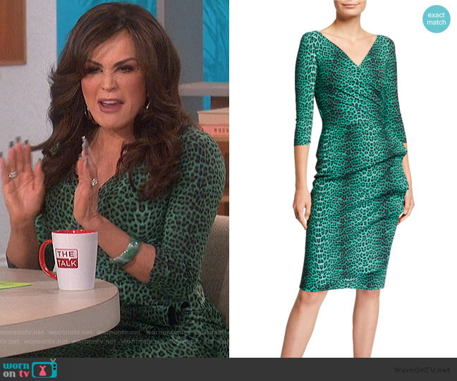 3/4-Sleeve Animal-Print Ruched Cocktail Dress by Chiara Boni La Petite Robe worn by Marie Osmond  on The Talk