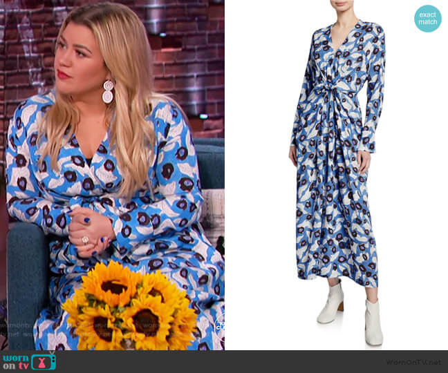 Darka Tie-Front Floral Long-Sleeve Dress by Christian Wijnants worn by Kelly Clarkson  on The Kelly Clarkson Show