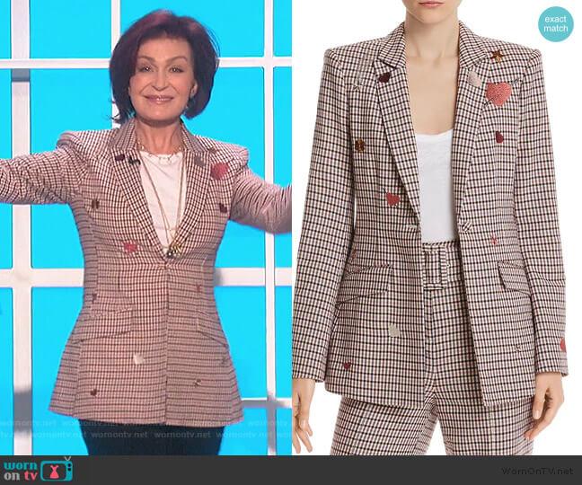 Estelle Embroidered Plaid Blazer by Cinq a Sept worn by Sharon Osbourne  on The Talk