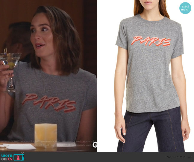 Paris Crewneck Tee by Cinq a Sept worn by Angie (Leighton Meester) on Single Parents