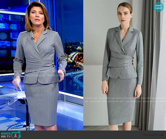 Collingham Jacket and Skirt by The Fold London worn by Norah O'Donnell  on CBS Evening News