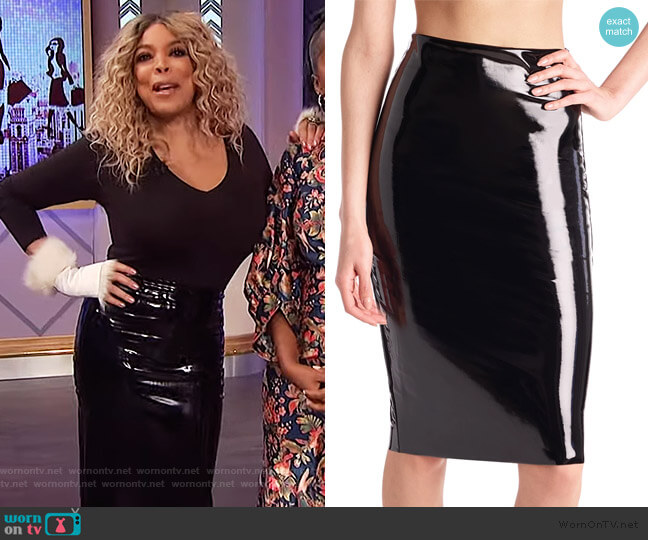 Faux Patent Leather Midi Skirt by Commando worn by Wendy Williams  on The Wendy Williams Show