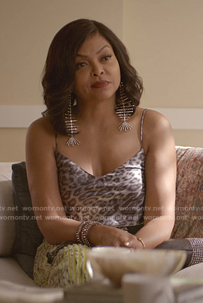 Cookie's grey leopard print camisole on Empire