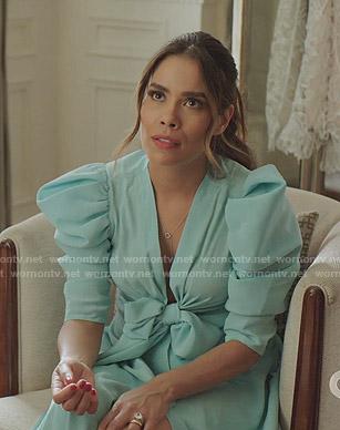 Cristal's aqua puff sleeve bow dress on Dynasty