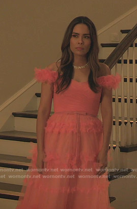Cristal's pink off-shoulder tulle dress on Dynasty