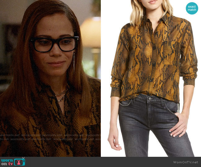 Current Elliott The Neal Shirt in Bronze Brown Python worn by Amanda Doherty (Victoria Cartagena) on Almost Family