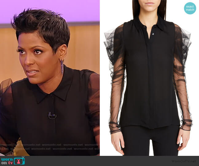 Tulle Sleeve Silk Blouse by Cushnie worn by Tamron Hall  on Tamron Hall Show