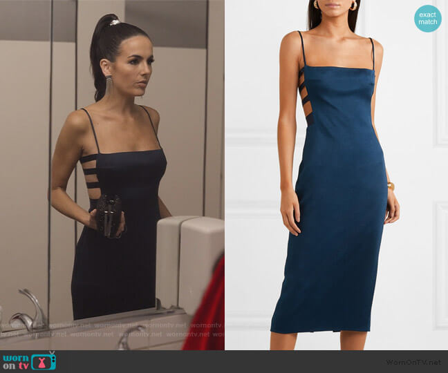 Cutout hammered-satin midi dress by Cushnie worn by Camilla Belle on Dollface