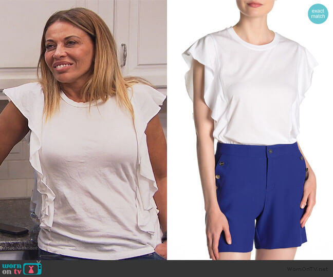 Ruffled Cap Sleeve T-Shirt by DKNY worn by Dolores Catania  on The Real Housewives of New Jersey