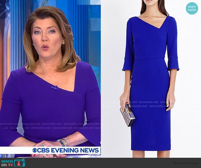Danby Dress by Roland Mouret worn by Norah O'Donnell  on CBS Evening News