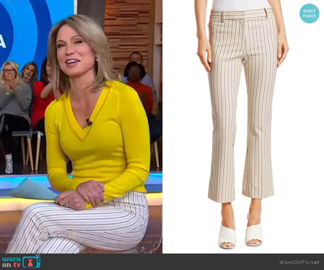 Striped Crop Flare Pants by Derek Lam worn by Amy Robach  on Good Morning America