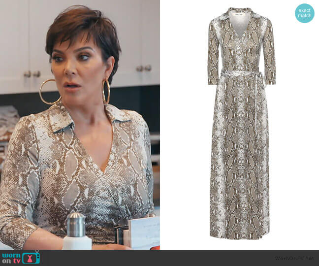 Abigail snake-print wrap dress by Diane von Furstenberg worn by Kris Jenner  on Keeping Up with the Kardashians