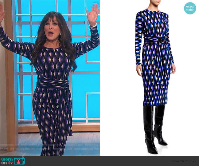 Gabel Printed Wool Belted Dress by Diane von Furstenberg worn by Marie Osmond  on The Talk