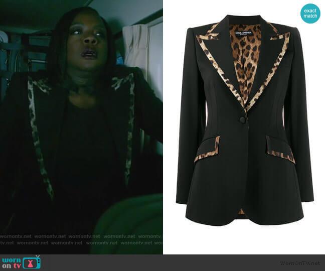 Leopard Print Trim Blazer by Dolce & Gabbana worn by Annalise Keating (Viola Davis) on HTGAWM