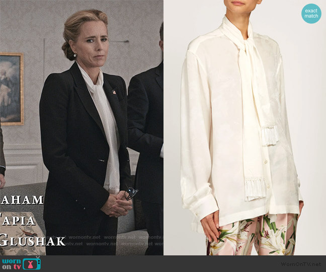 Pussy-bow rose-jacquard blouse by Dolce & Gabbana worn by Elizabeth McCord (Téa Leoni) on Madam Secretary