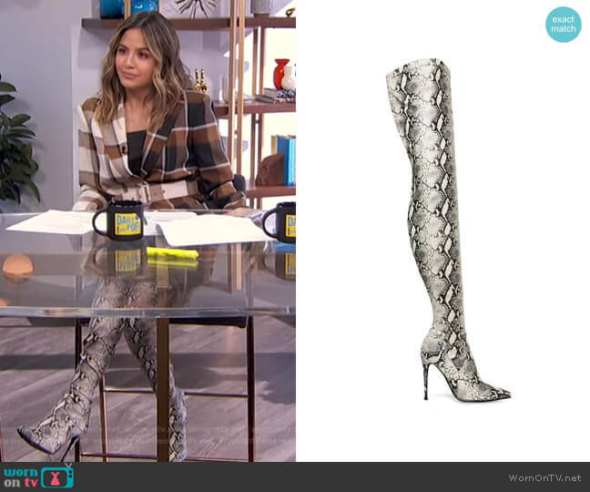Dominique Over-The-Knee Stretch Boots by Steve Madden worn by Erin Lim  on E! News