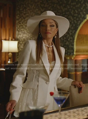 Dominique's white asymmetric lace blazer on Dynasty
