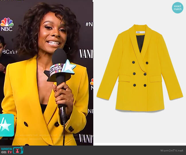 Double Breasted Buttoned Blazer by Zara worn by Zuri Hall  on Access Hollywood