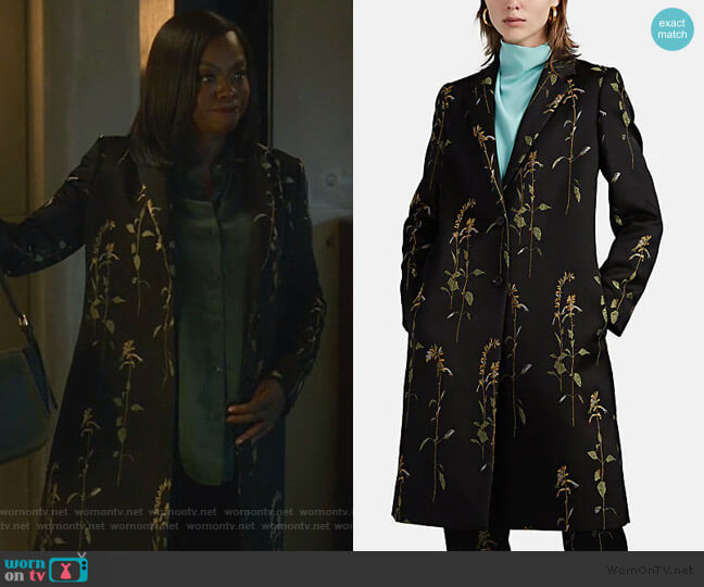 Floral-Jacquard Button-Front Coat by Dries Van Noten worn by Annalise Keating (Viola Davis) on HTGAWM