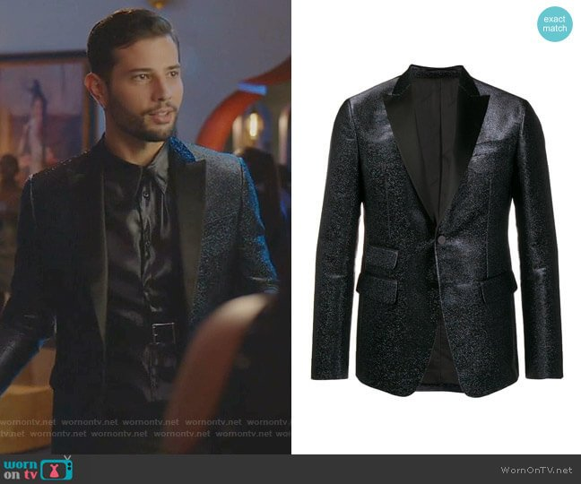 Glitter Tailored Blazer by Dsquared2 worn by Sam Flores (Rafael de la Fuente) on Dynasty