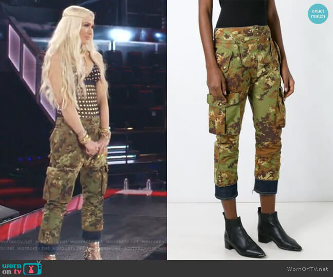 Livery Tenent Icon Cropped Camouflage Trousers by Dsquared2 worn by Gwen Stefani  on The Voice