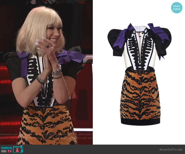 Marching Sheer Mix & Match Dress by Dsquared2 worn by Gwen Stefani  on The Voice