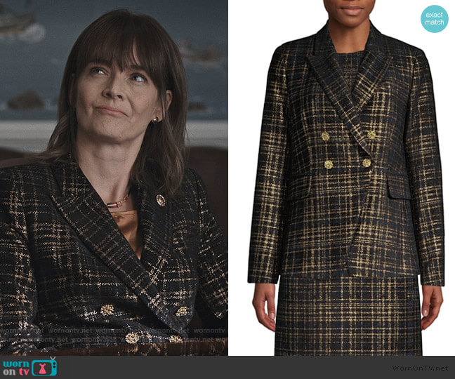Jezebel Metallic Tweed Double-Breasted Blazer by Elie Tahari worn by Enid Graham on Madam Secretary