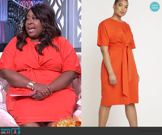 Cross Front Flutter Sleeve Dress by Eloquii worn by Loni Love  on The Real