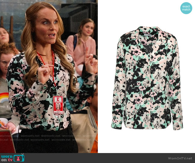 Equipment Adalyn Blouse in Backlight Floral worn by Miss Jenn (Kate Reinders) on High School Musical The Musical The Series