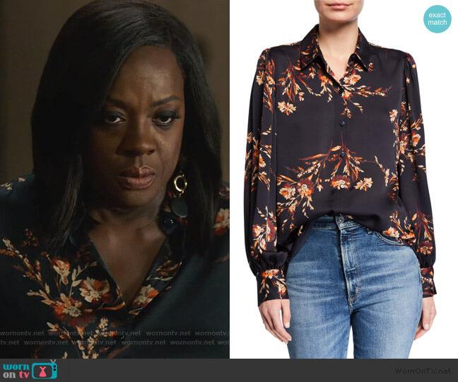 Danton Floral Button-Down Shirt by Equipment worn by Annalise Keating (Viola Davis) on HTGAWM