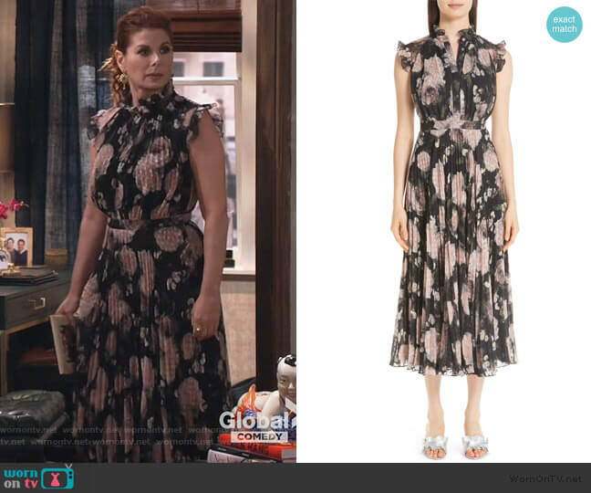 Floral Print Voile Midi Dress by Erdem worn by Grace Adler (Debra Messing) on Will & Grace