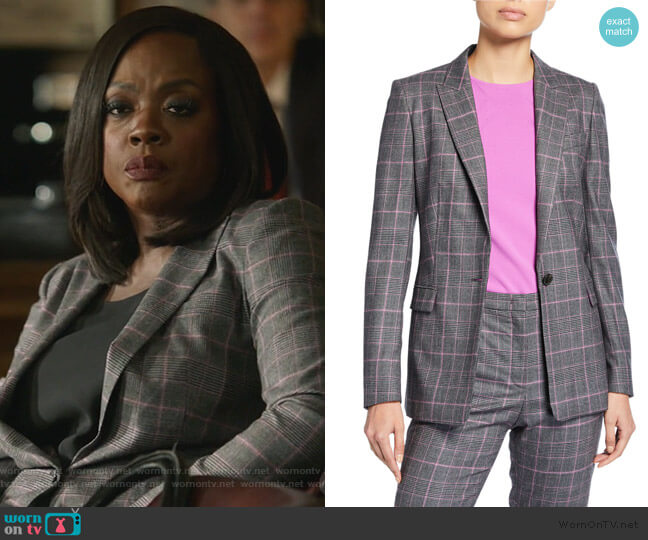 Begas Glen-Plaid Wool Jacket by Escada worn by Annalise Keating (Viola Davis) on HTGAWM