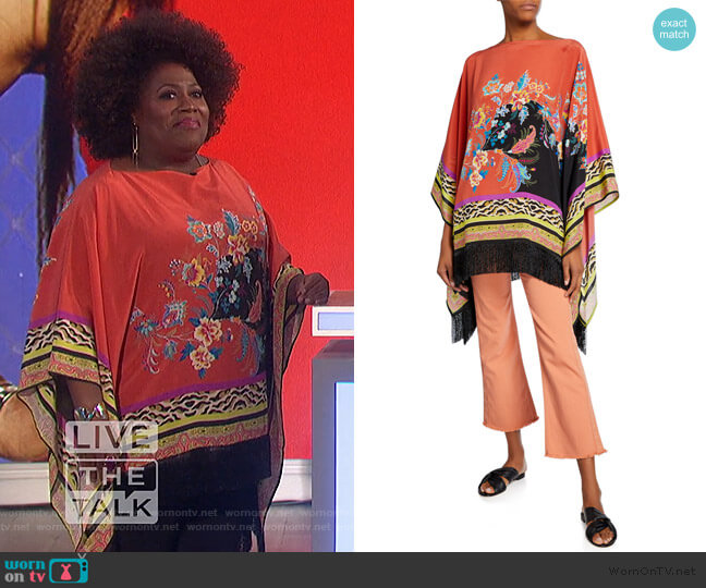 Fringed Floral Fern Collage Poncho by Etro worn by Sheryl Underwood  on The Talk