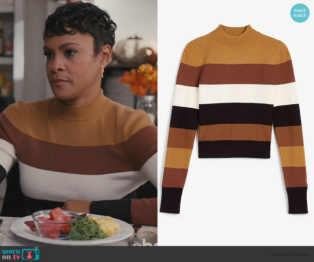 Negin Mirsalehi Striped Mock Neck Sweater by Express worn by Angela (Carly Hughes
