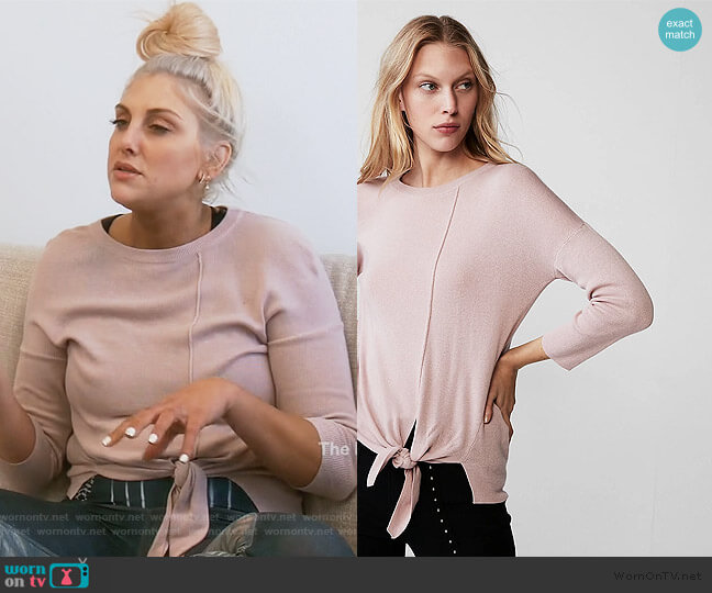 Tie Front Crew Neck Sweater by Express worn by Gina Kirschenheiter  on The Real Housewives of Orange County
