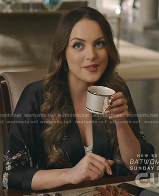 Fallon's black floral print robe on Dynasty