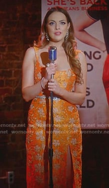 Fallon's orange floral slit dress on Dynasty
