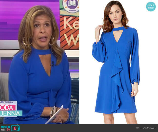 Fancy Crepe Ruffle Dress by Adrianna Papell worn by Hoda Kotb  on Today
