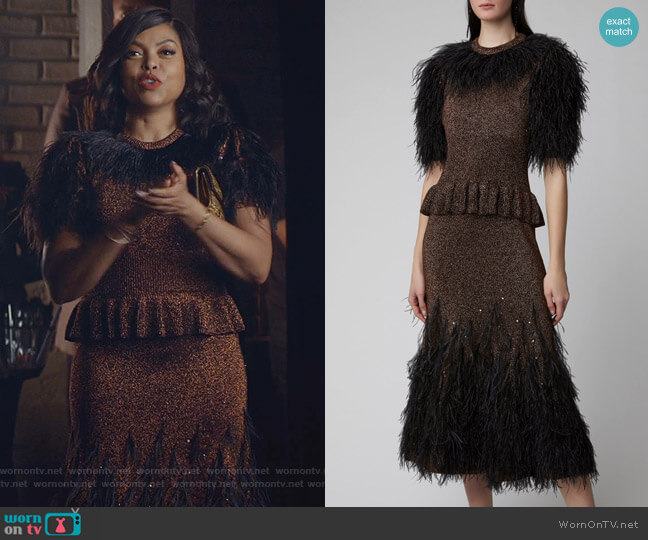 Feather Embroidered Metallic Knit Peplum Dress by Michael Kors worn by Cookie Lyon (Taraji P. Henson) on Empire