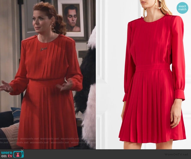 Pleated Crepe De Chine Dress by Fendi worn by Grace Adler (Debra Messing) on Will & Grace
