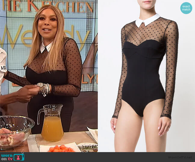 Dotted Tulle Collared Bodysuit by Fleur Du Mal worn by Wendy Williams  on The Wendy Williams Show