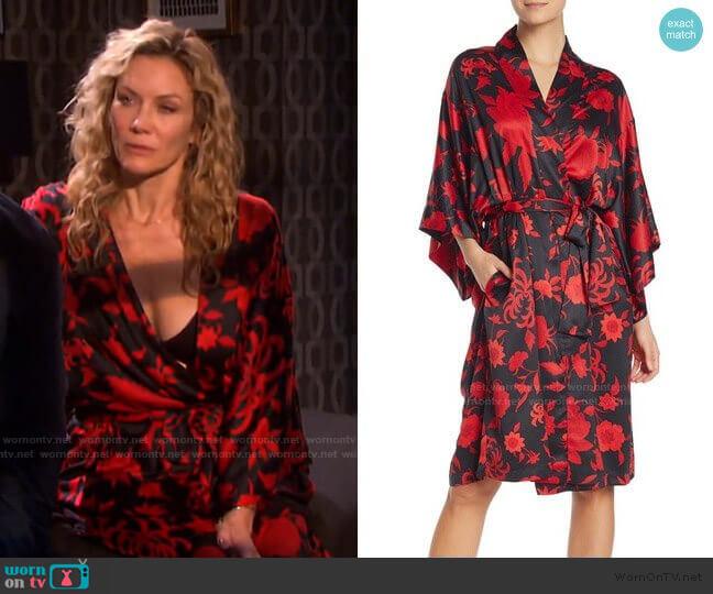 Natori Floral Print Wrap Robe worn by Kristen DiMera (Stacy Haiduk) on Days of our Lives