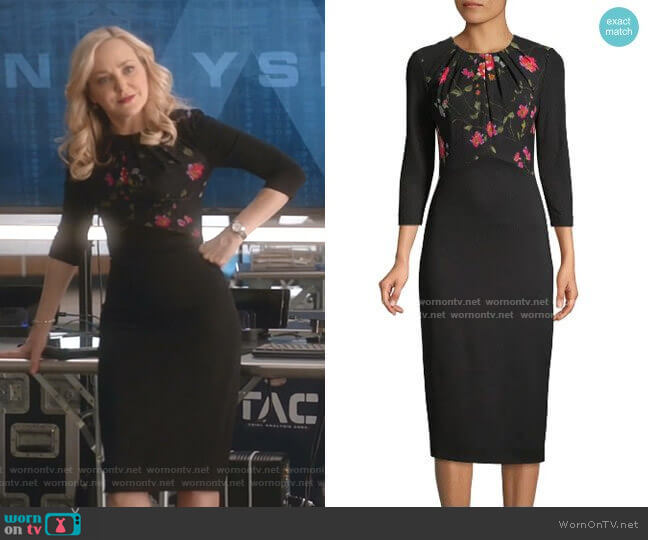 Jason Wu Floral Vine Stretch Ponte Sheath Dress worn by Marissa Morgan (Geneva Carr) on Bull