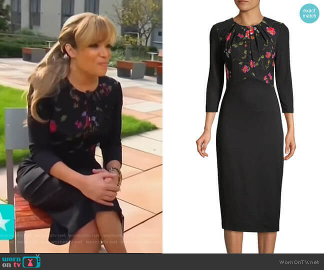 Floral Vine Stretch Ponte Sheath Dress by Jason Wu worn by Sunny Hostin on Access Hollywood