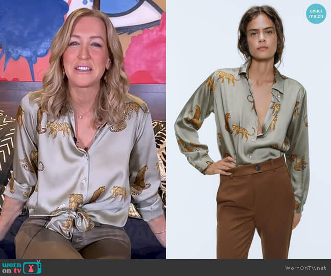 Flowy Printed Shirt by Zara worn by Lara Spencer  on Good Morning America