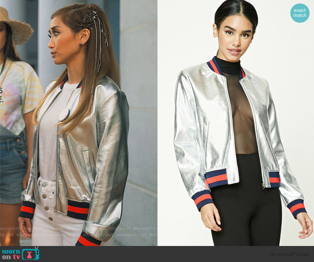 Metallic Bomber Jacket by Forever 21 worn by Izzy Levine (Esther Povitsky) on Dollface
